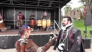 Blackadder dancing to the tribal pipes and drums of Clann An Drumma at Scone Palace, Scotland