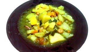 Тушеный картофель с грибами и овощами! Легкий обед!