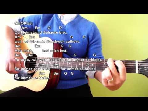Halt Mich - Philipp Poisel - Easy Guitar Tutorial (No Capo) with Chords & Lyrics