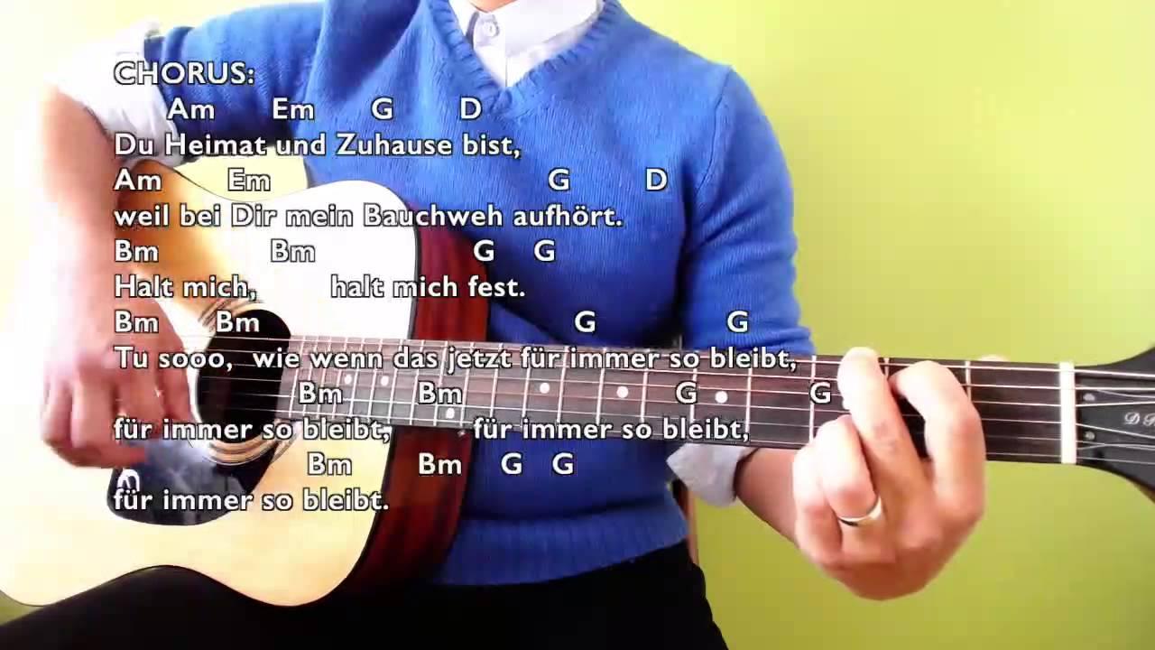 Halt Mich - Philipp Poisel - Easy Guitar Tutorial (No Capo) with Chords u0026 Lyrics - YouTube