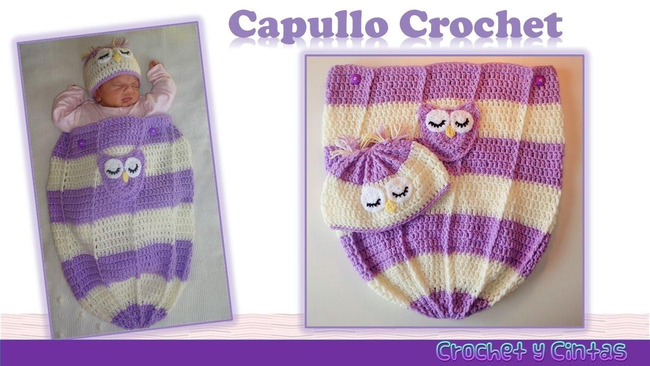 Capullo - cocoon con gorro búho dormido para bebés tejido a crochet ...