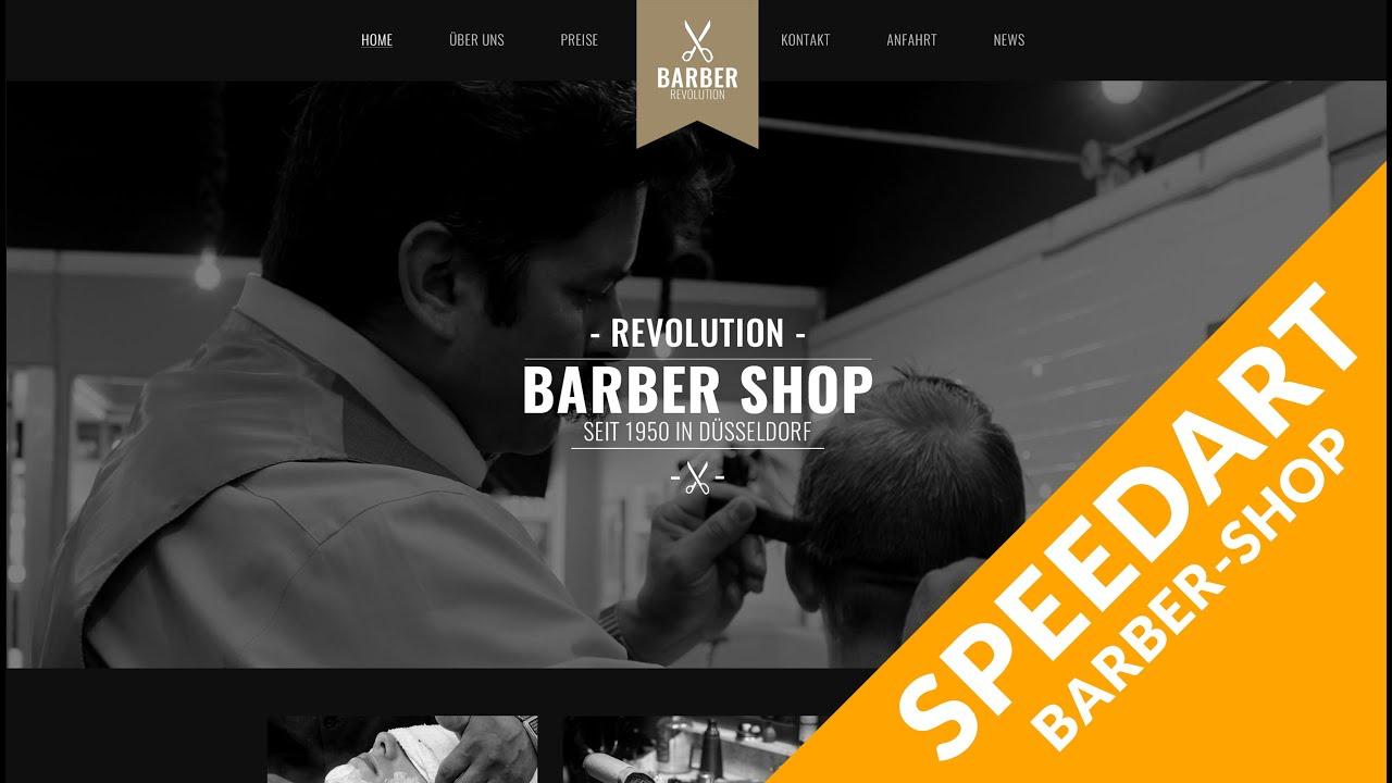 Speed Art Website [Photoshop] | Barber-Shop | HosonoDesign - YouTube
