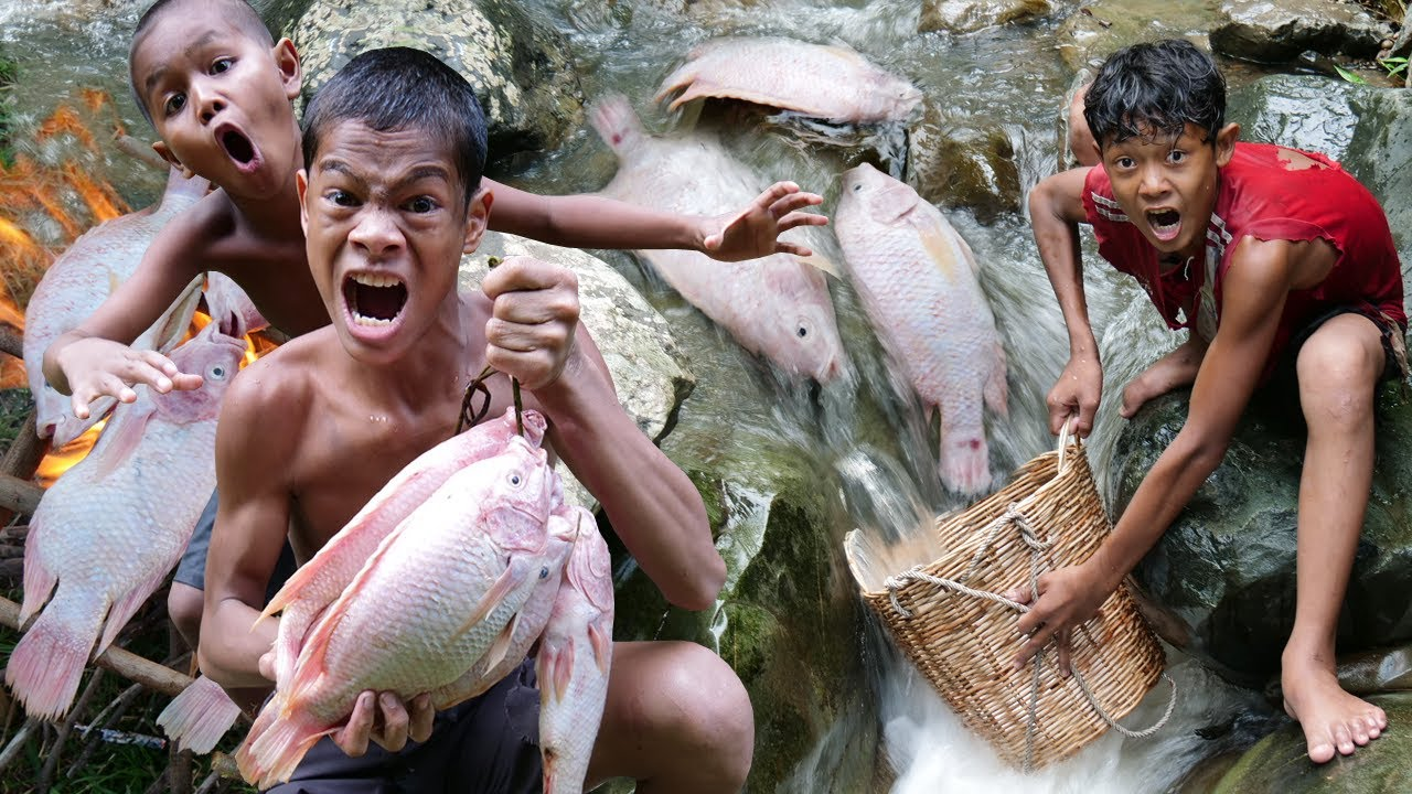 Primitive Technology - Kmeng Prey - Find Food At Waterfall Grilled Red Fish Fry