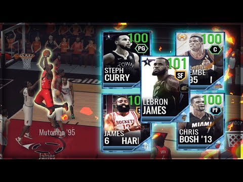 GODLY 100+ OVR FULL PLATINUM STARTING 5!! NBA LIVE MOBILE 18 GAMEPLAY!!