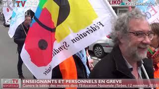 Profs et personnels en grève à Tarbes (12 nov 18) | HPyTv La Télé de Tarbes