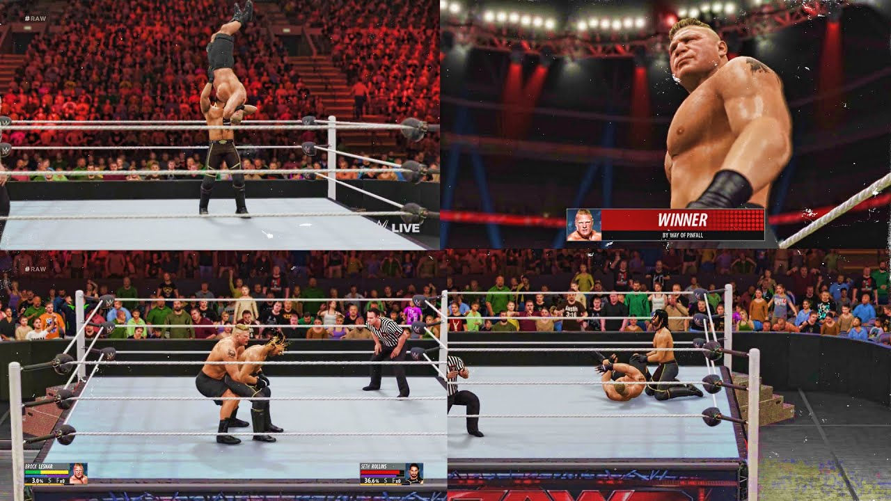 WWE 2K16 - Official Leaked Brock Lesnar vs Seth Rollins Gameplay Footage -  YouTube