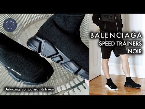 3c525c060d0d Balenciaga Sock Knit Speed Trainers Black Noir  Unboxing