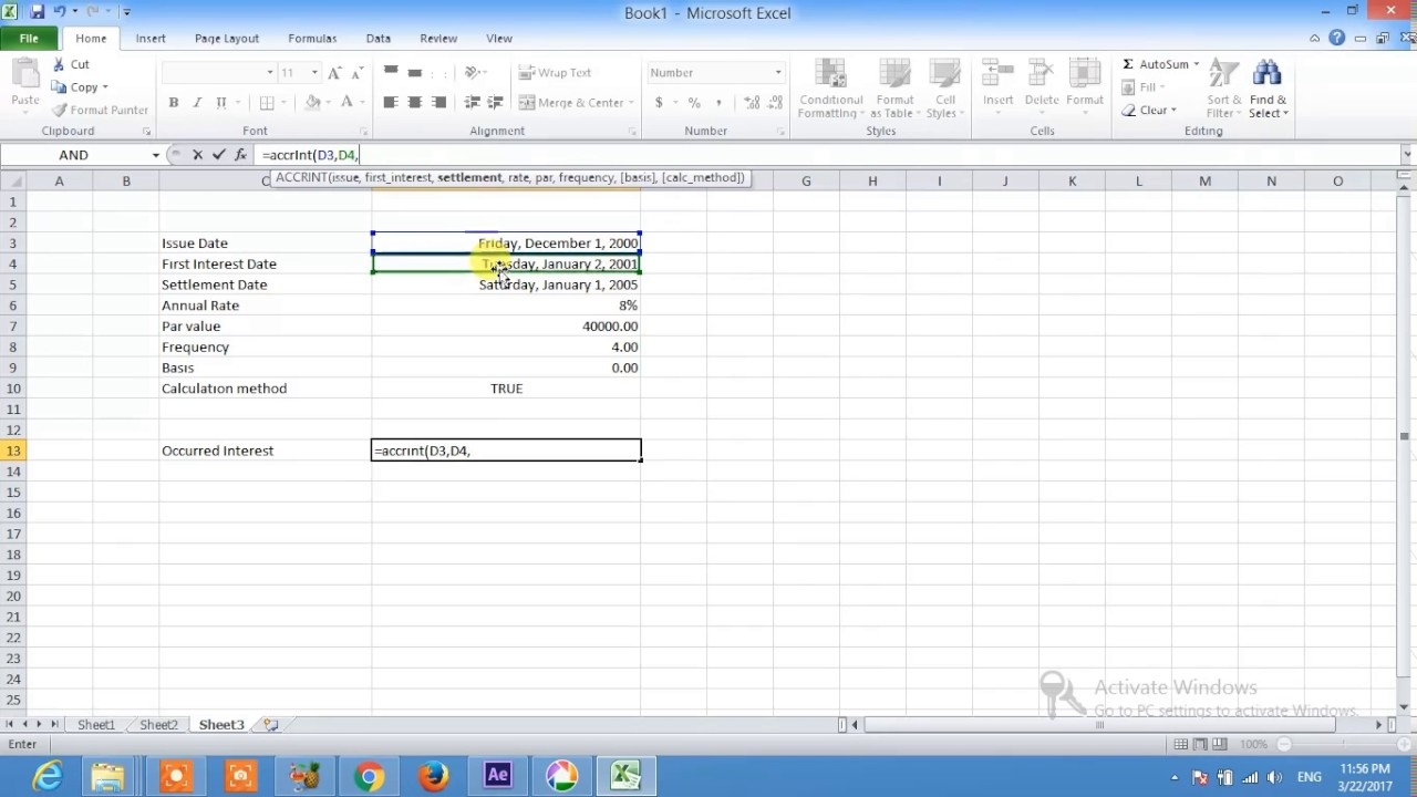 Excel Accrued Interest Youtube