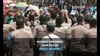 Momen Pendemo dan Polisi Joget Bareng usai Unjuk Rasa Berakhir
