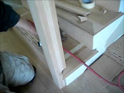 How To Install Hardwood Floors On Stairs: Installing A Stair Tread And  Nosing Around The Newel Post