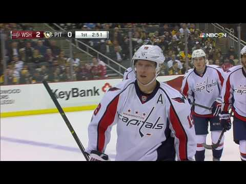 Backstrom scores after Ovechkin takes out two Penguins