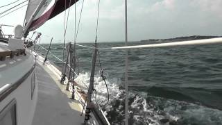 Pearson 36 Cutter sailing Pensacola Bay in 22 knots of wind.  1080P