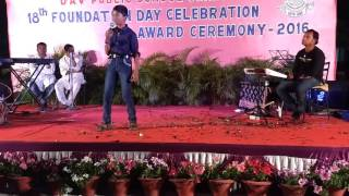 Rishav singing in his school's annual day function