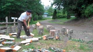 Chopping Wood for the Wood-fired Pizza Oven