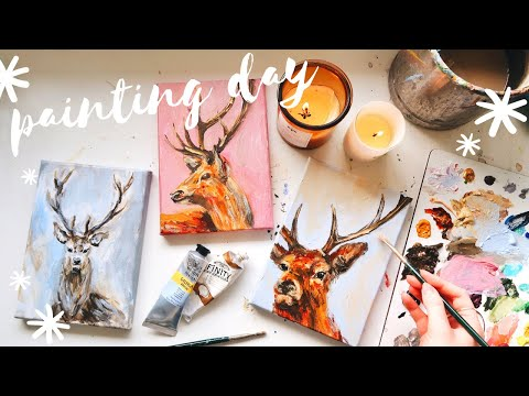 Acrylic Painting ✨Little Stags