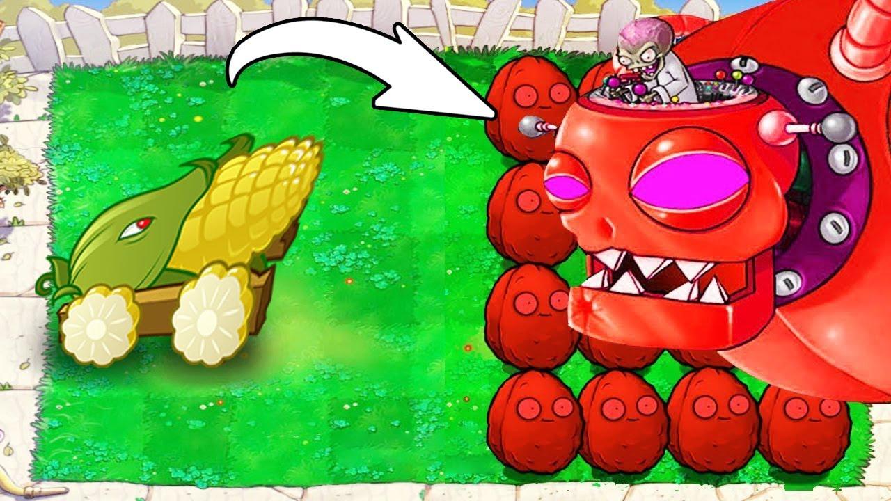1 Cob Cannon vs 999 Explode-o-nut vs Red Zomboss - Plants vs Zombies