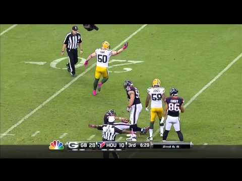 Houston Texans QB Matt Schaub gets sacked by a shove