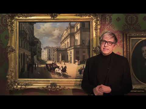 Pierluigi Panza presenta il quadro La facciata del Teatro alla Scala di Angelo Inganni