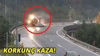 Korkunç kaza! Virajı dönemeyen otomobil, TIR'ı köprüden attı