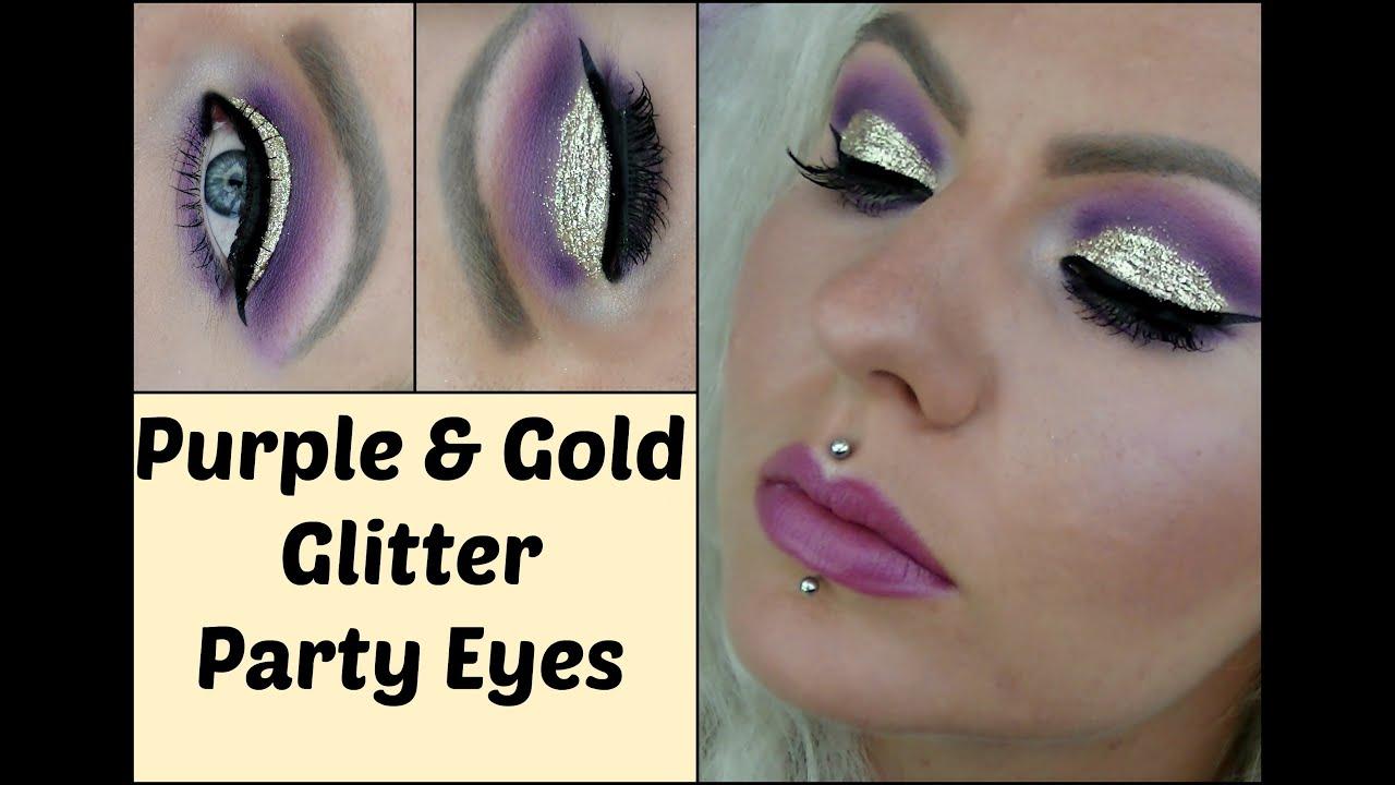 Purple & Gold Glitter Party Eye Makeup (cruelty-free cosmetics ...