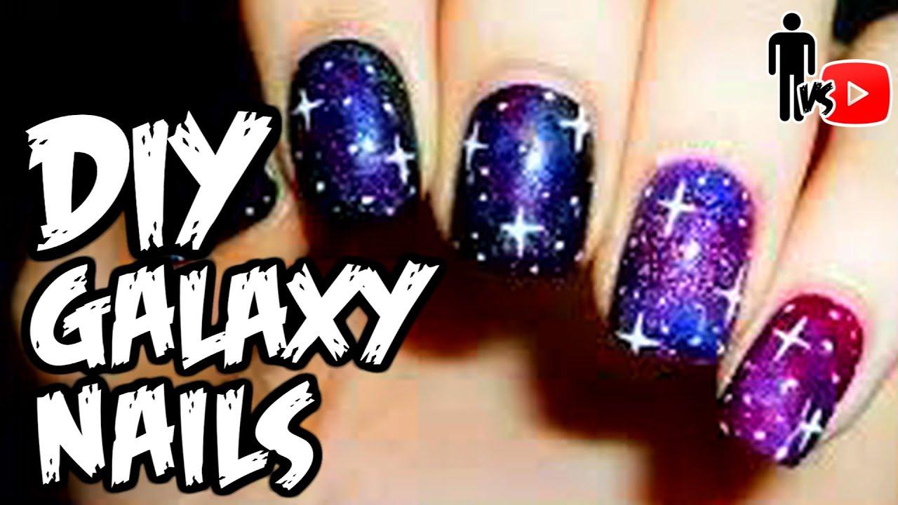 DIY GALAXY NAILS - Man Vs Youtube #8 - YouTube