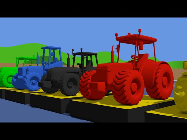 .Learn Colors with Tractor & Cartoon Animation for Kids and babies } Kolorowe TRAKTORY Bajki