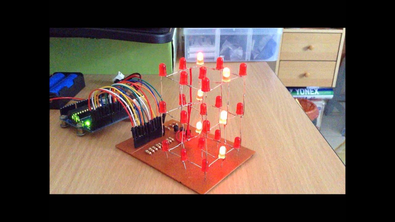 3x3x3 Led Cube With Arduino Arduinoledlightchaser10ledcodecircuit