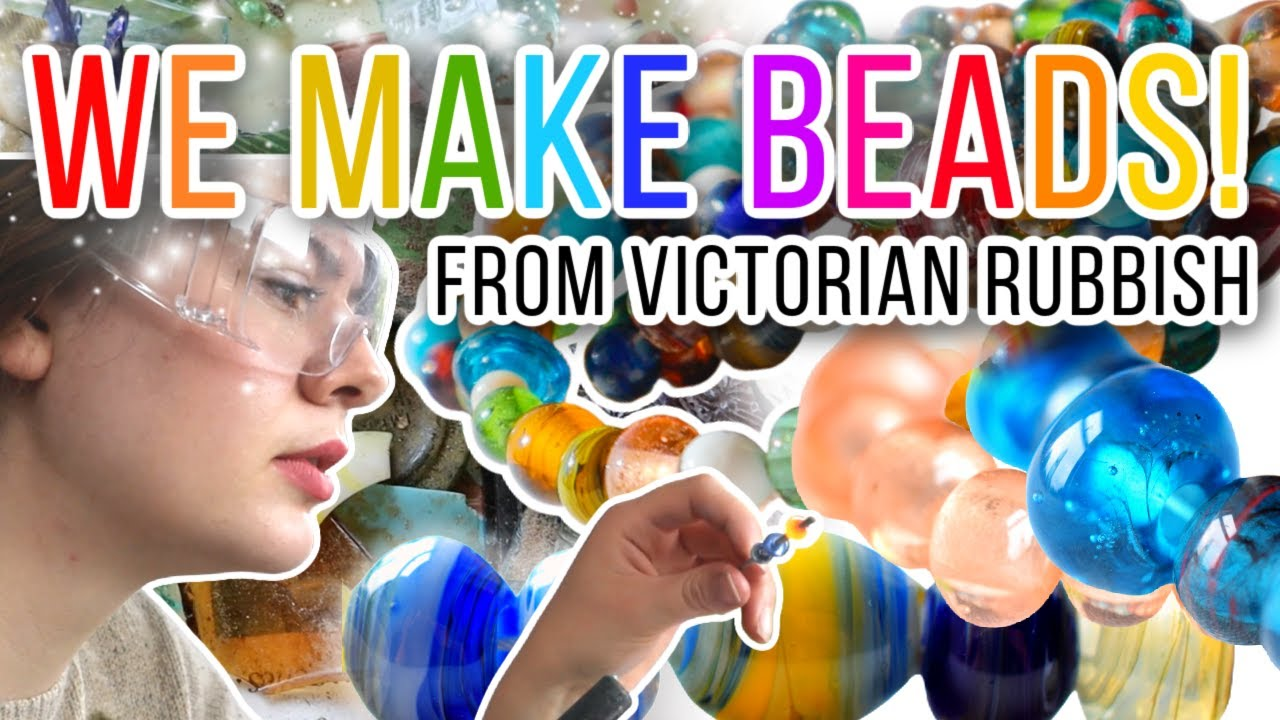 Making beautiful beads from antique glass! Recycling our mudlarking trash into treasures!