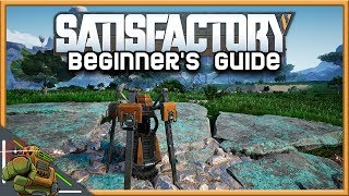 Satisfactory Beginner's Guide | Porтable Miner, Smelter, and HUB | Episode #01 (Alpha Gameplay)