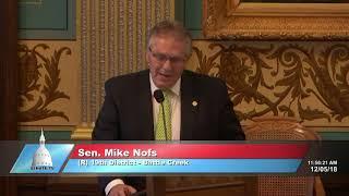 Sen. Nofs delivers farewell address