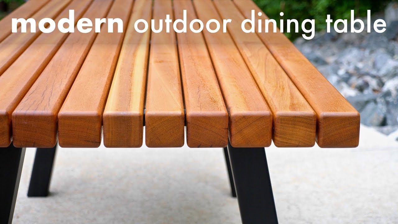Modern Outdoor Dining Table And Pergola Build How To Woodworking Youtube