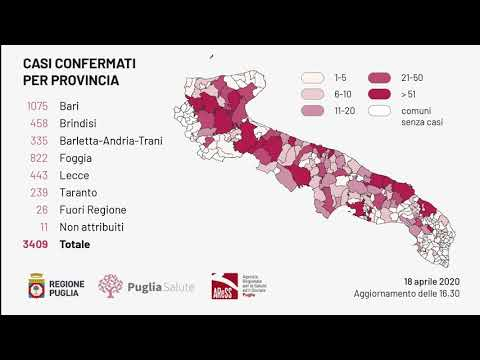 Puglia, risale la curva dei contagi: 82 nuovi casi e 7 decessi