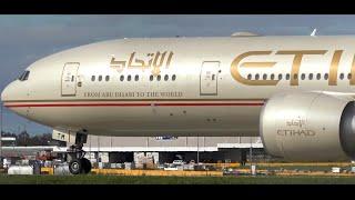 Etihad Airways Boeing 777 300er ● Landing & Takeoff At Melbourne Airport