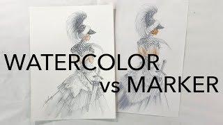 Fashion Illustration: Marker vs Watercolor