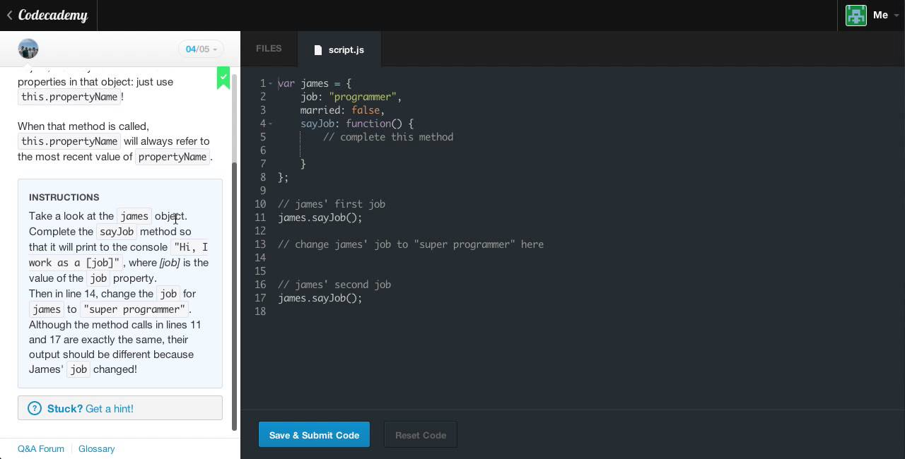 Javascript Objects 2 - Review: The story so far : Codecademy