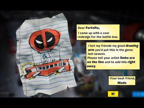 Fortnite Find Deadpool's Letter To Epic Games, Don't Thank The Bus Driver |Deadpool Challenges|