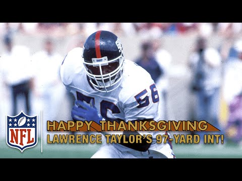 Lawrence Taylor Speeds Down Sideline for a 97-Yard Pick Six vs. Lions (1982) | NFL on Thanksgiving