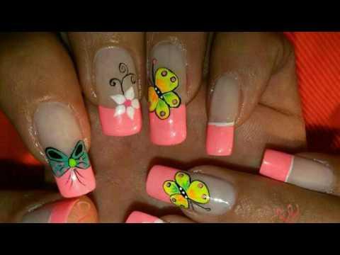 Decoraciones De Uñas Lindas Con Mariposas Y Flores Youtube