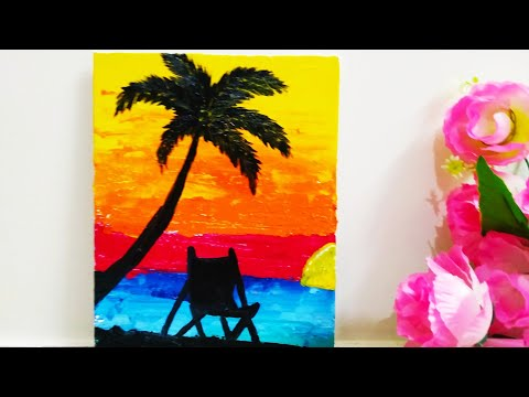 Sunset Abstract Painting | Easy Abstract Painting Demo | For Beginners | Art Therapy | Satisfying