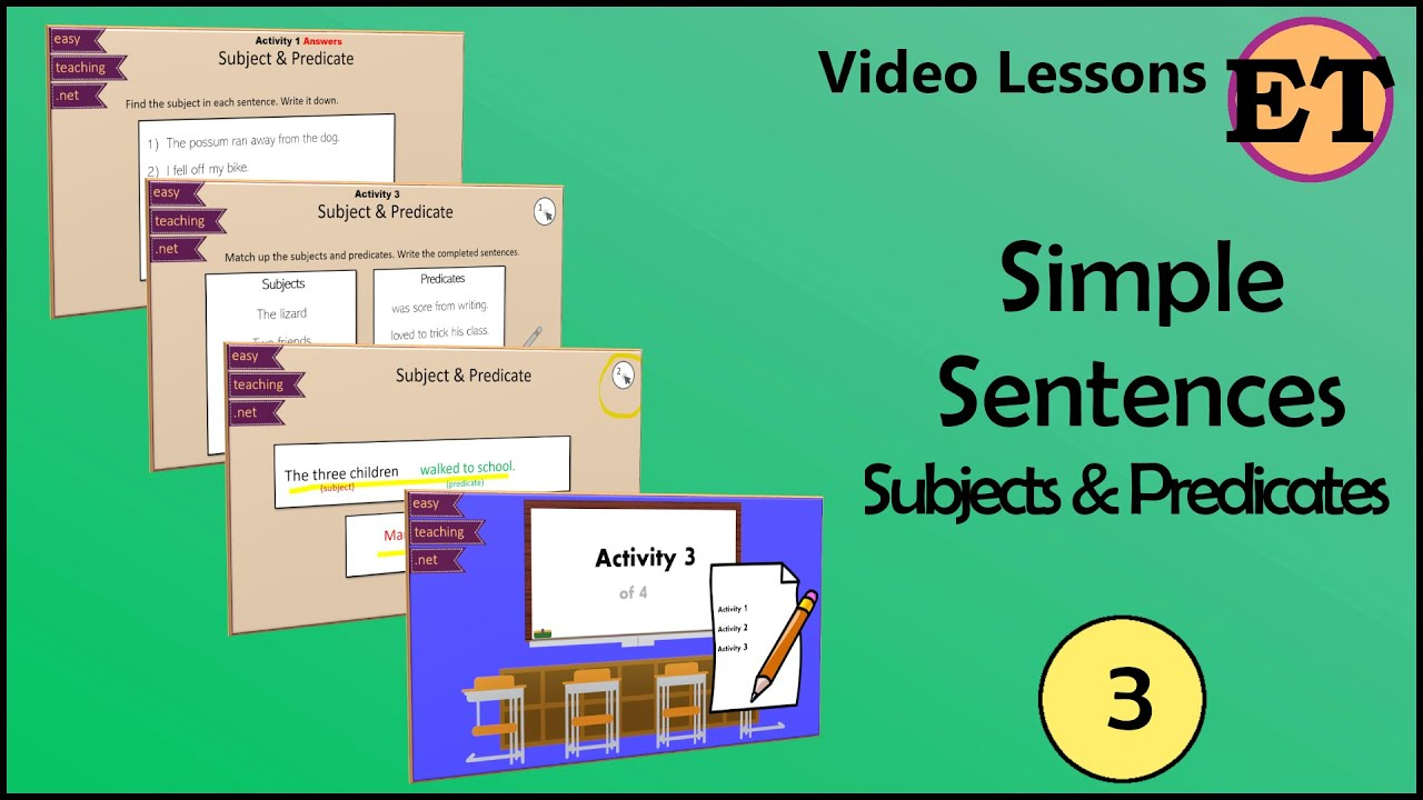Simple Sentences: Subject \u0026 Predicate   Video Lessons   EasyTeaching -  YouTube [ 720 x 1280 Pixel ]