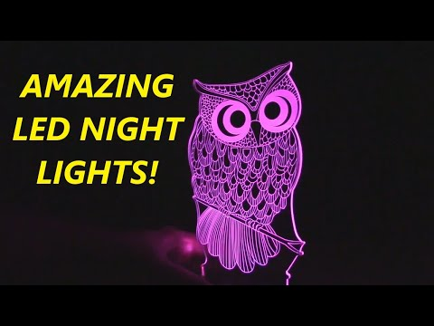 REVIEW 3D LED Night Light (Owl, Unicorn, Dinosaur) 16 Color Change   Night Light with Remote