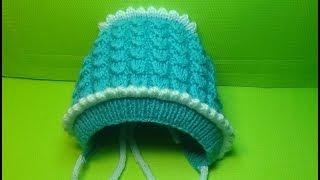 Вязание спицами детская шапочка- чепчик #142