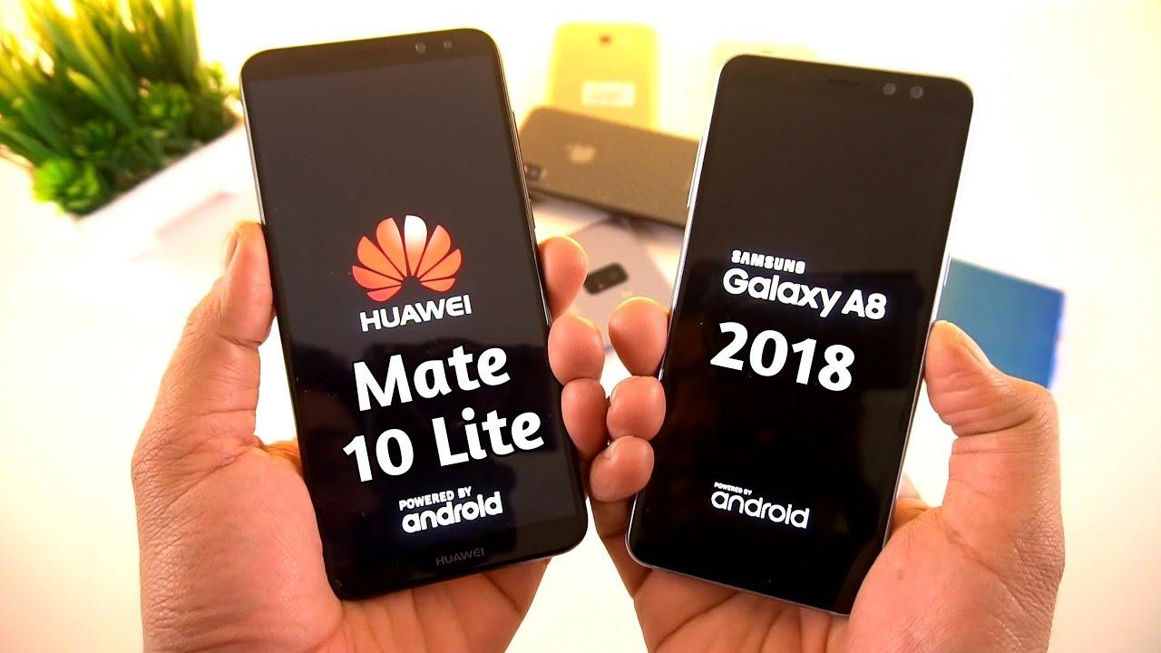 galaxy a8 2018 vs huawei mate 10 lite speed test