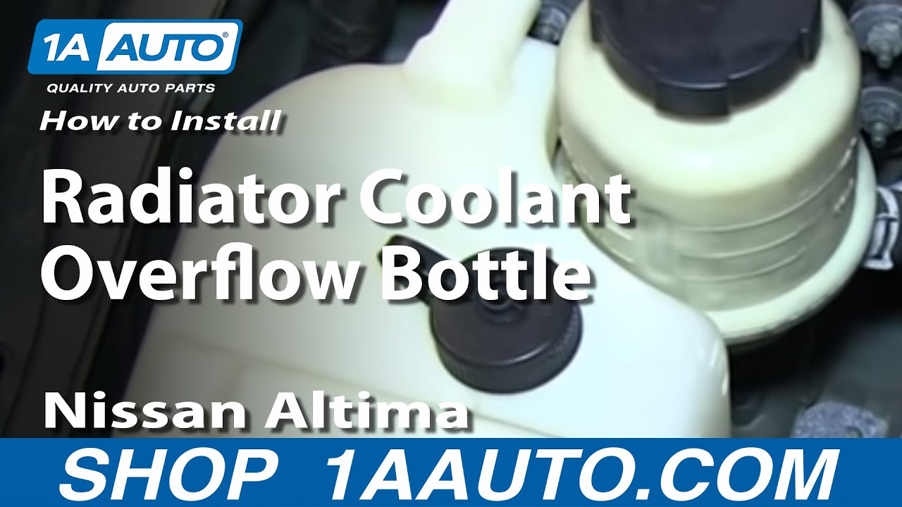 small resolution of how to install replace radiator coolant overflow bottle 2002 06 nissan altima 04 08 maxima youtube