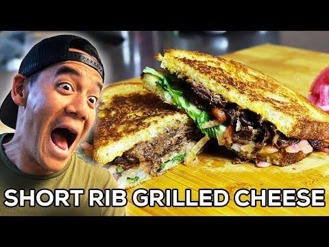 Short Rib Grilled Cheese w/ Homemade Pickled Onions (comedy cooking)