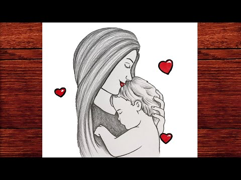 Anneler Günü Resmi Çizimi Kolay - Anneler Günü Çizimleri Karakalem - Çizim Mektebi Kolay Çizimler