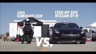 kawasaki h2r and Nissan GT-R, Bugatti Veyron, Maclaren-