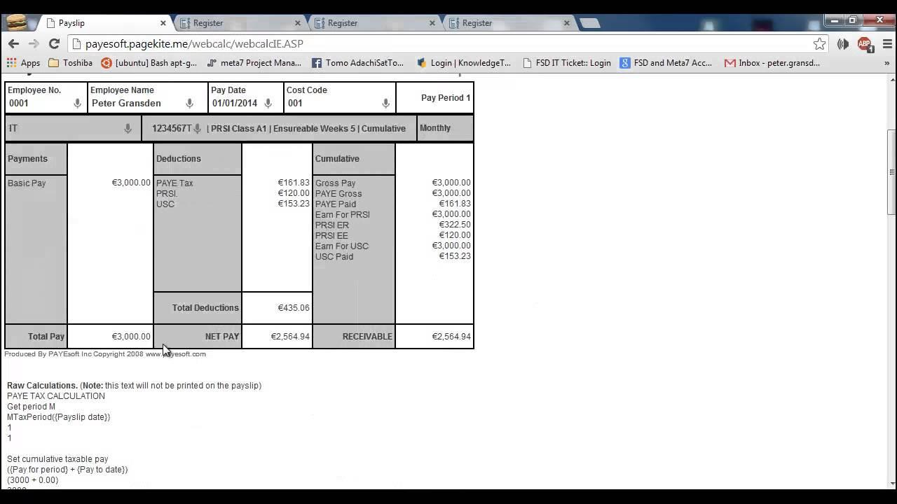 Free Irish PAYE Payroll Calculator that prints Payslips