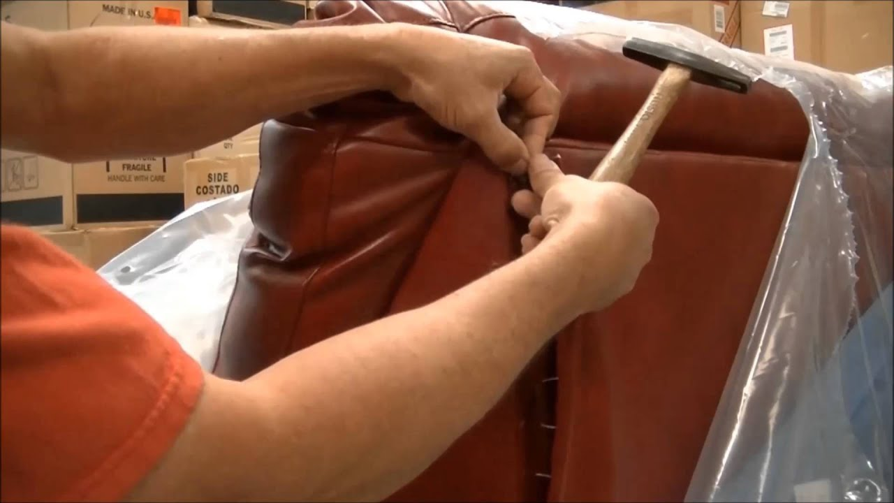 how to fix a ripped on top back corner of leather sofa,como arreglar un  ripio en un sofa de piel - YouTube