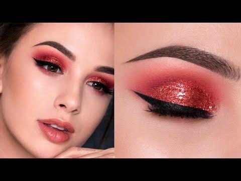 RED Glitter Smokey Eye Makeup Tutorial